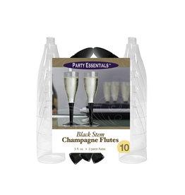 Party Essentials 5 oz. 2 pc. Black Stem Champagne Flutes - 10 Ct.