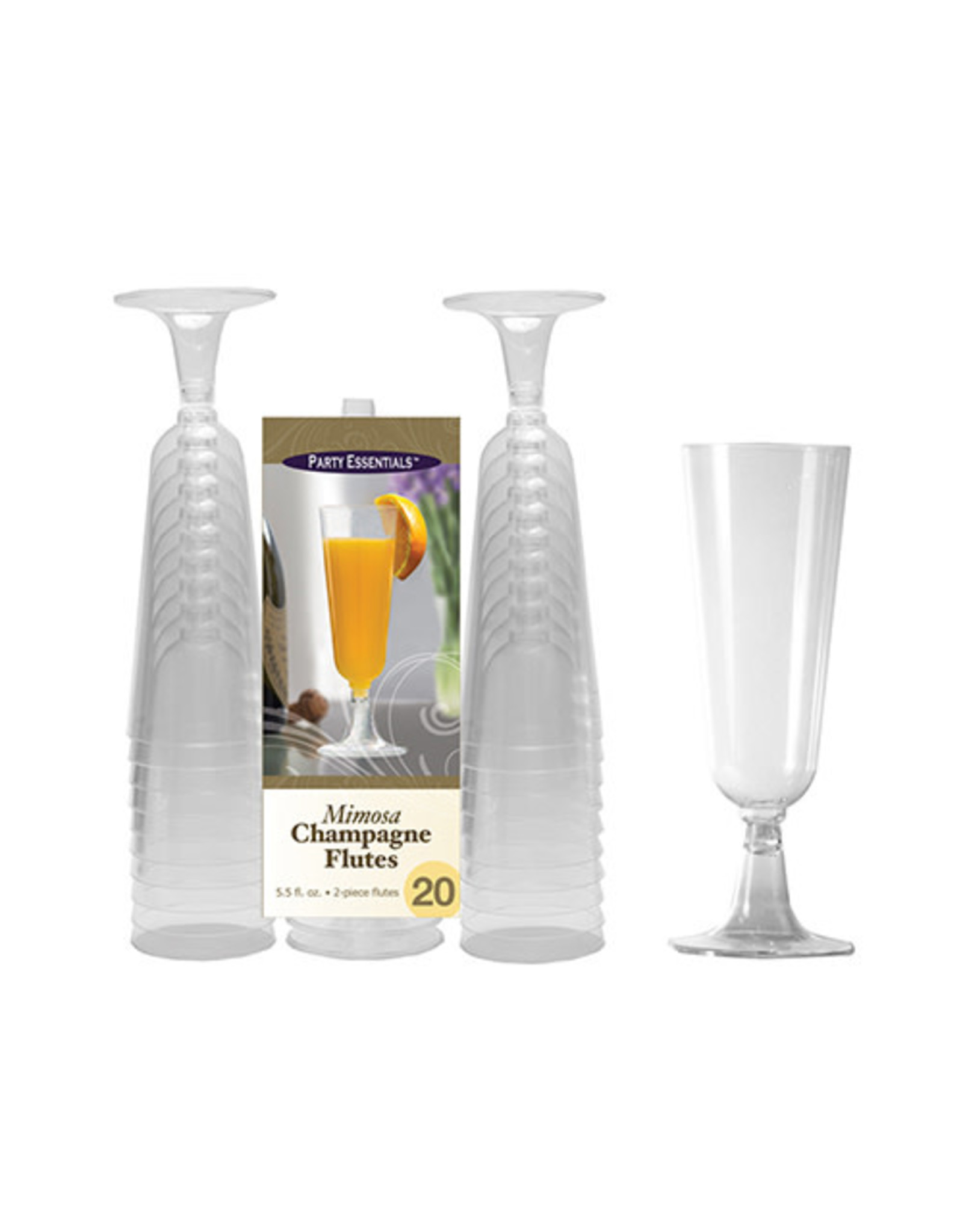 Party Essentials 5.5 oz. Clear 2 pc. Mimosa Flutes - 20 Ct.