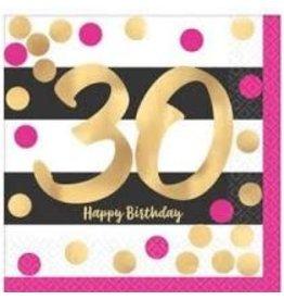 Amscan Pink & Gold 30th Bev. Napkins - 16ct