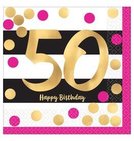 Amscan Pink & Gold 50th Bev. Napkins - 16ct