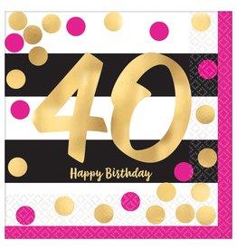 Amscan Pink & Gold 40th Bev. Napkins - 16ct