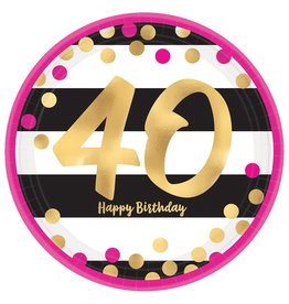 """Amscan Pink and Gold 7"""" 40th Plate - 8ct."""