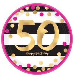 """Amscan Pink and Gold 7"""" 50th Plate - 8ct."""
