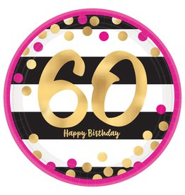 """Amscan Pink and Gold 7"""" 60th Plate - 8ct."""