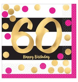 Amscan Pink and Gold  60th Bev. Napkins - 8ct.