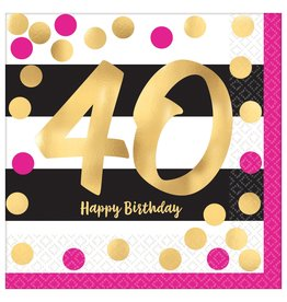 Amscan Pink & Gold 40th Lunch Napkins - 16ct.