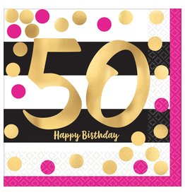 Amscan Pink & Gold 50th Lunch Napkins - 16ct.