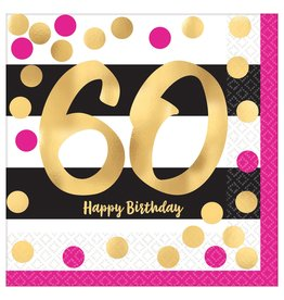 Amscan Pink & Gold 60th Lunch Napkins - 16ct.