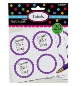 Amscan Purple Scalloped Labels - 20ct.