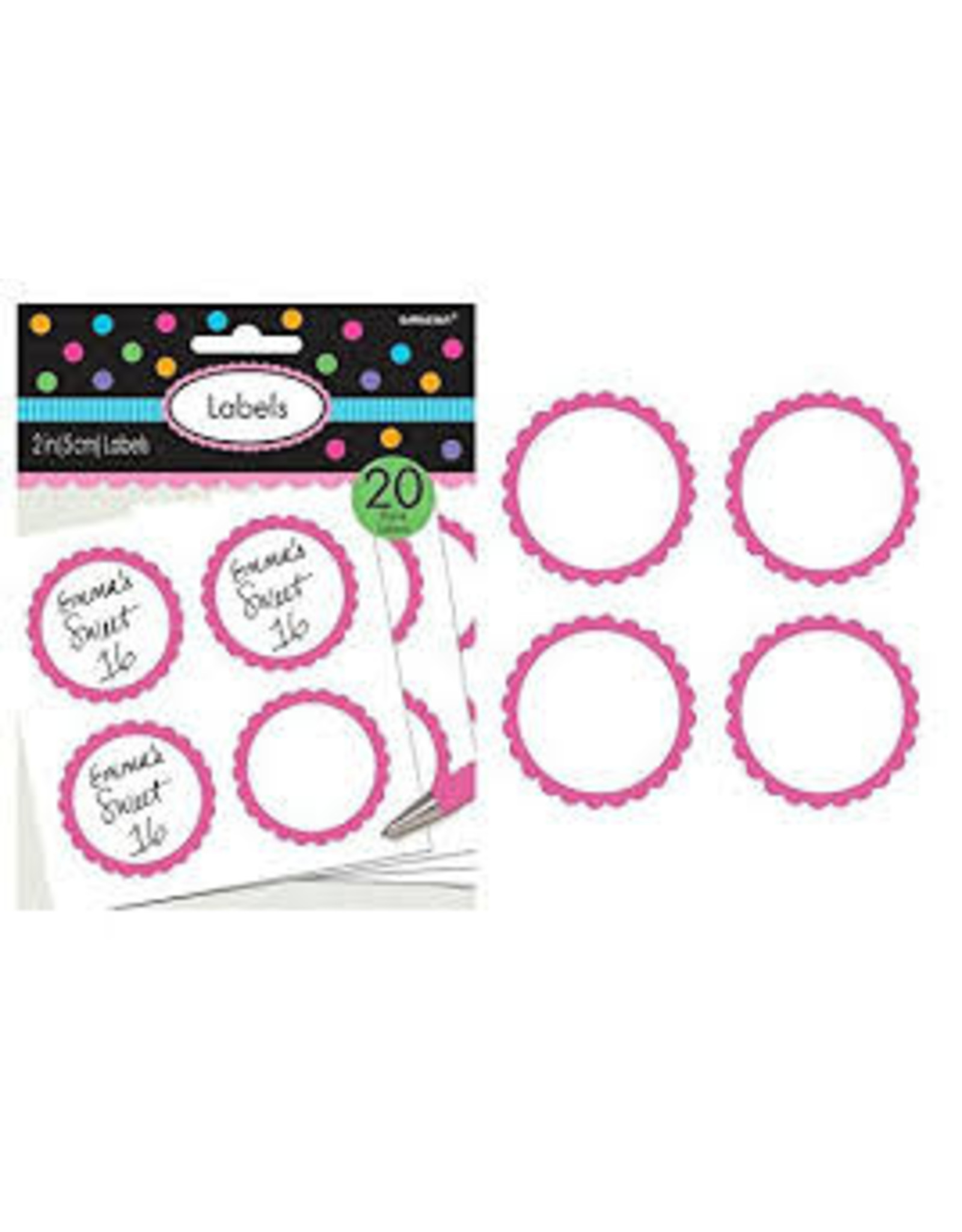 Amscan Candy Pink Scalloped Labels - 20ct.