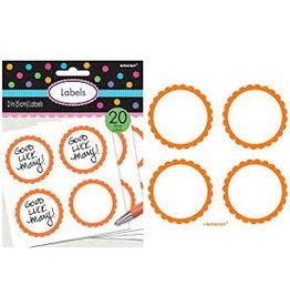 Amscan Orange Scalloped Labels - 20ct.