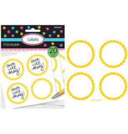 Amscan Yellow Scalloped Labels - 20ct.