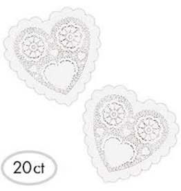 "Amscan White Heart 6"" Doilies - 20ct."