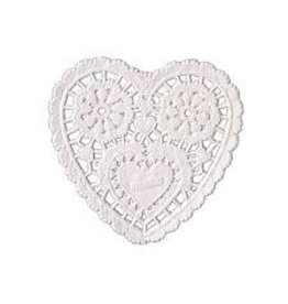 "Amscan White Heart 3.5"" Doilies - 28ct."