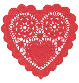 "Amscan Red Heart 3.5"" Doilies - 28ct."