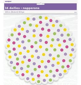 """unique Polka Dot 10.5"""" Doilies - 16ct."""