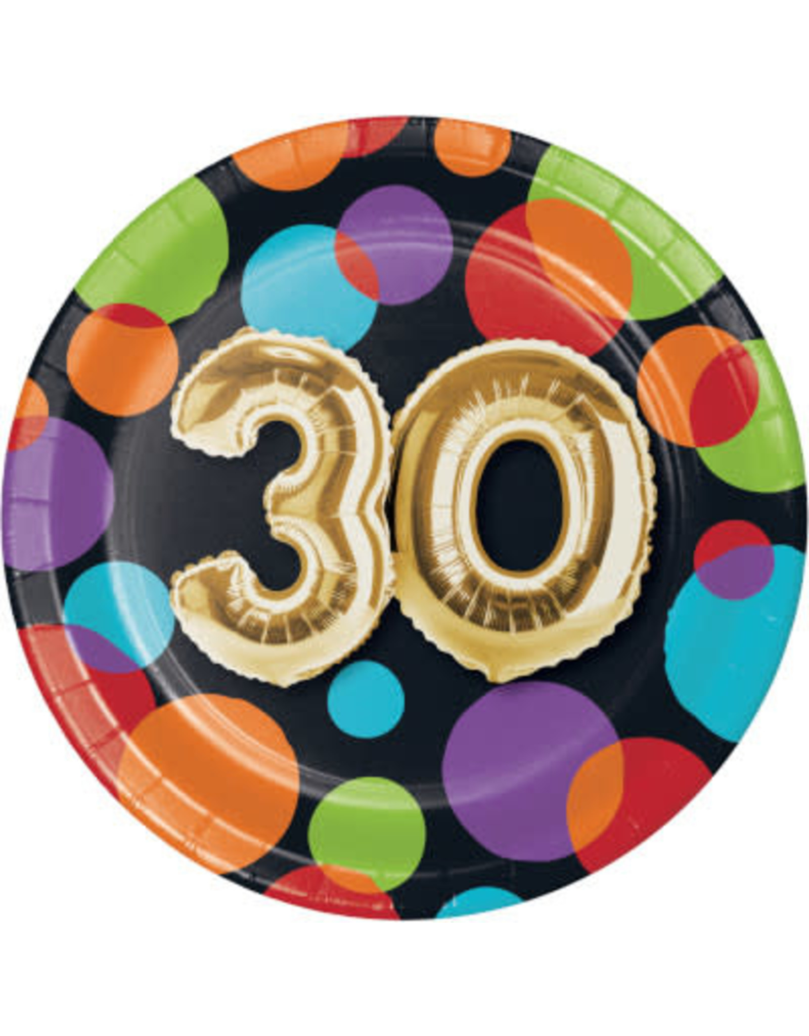 Party Creations 30 balloon birthday 7in. Plate - 8ct.