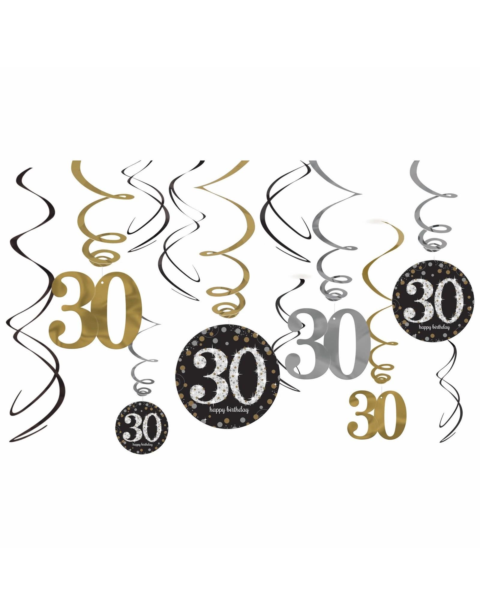 Amscan 30th Birthday Swirls - 12ct.