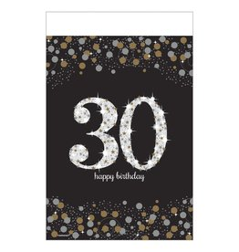"""Amscan Sparkling Celebrations 30th Tablecover - 54"""" x 102"""""""