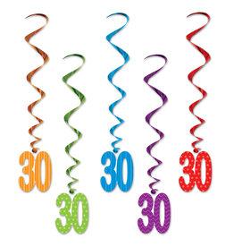 Beistle 30th Birthday Whirls - 5ct.