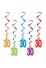 Beistle 30th Birthday Whirls - 5ct.
