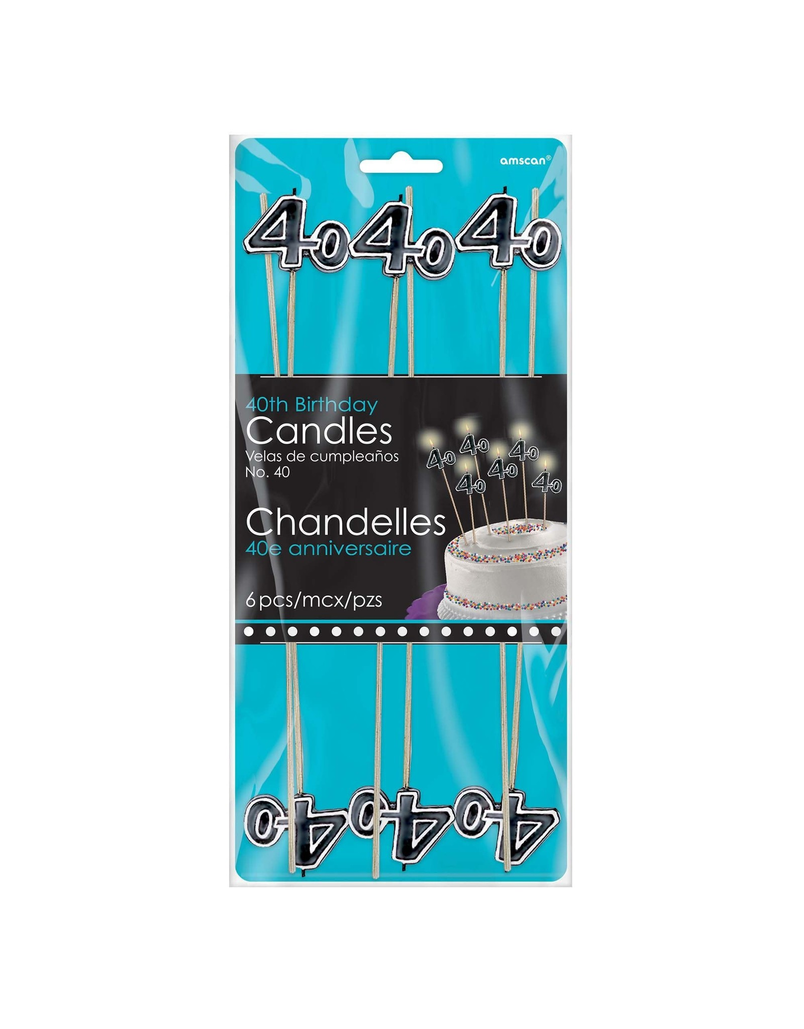 Amscan 40th Birthday Stick Candles - 6ct.