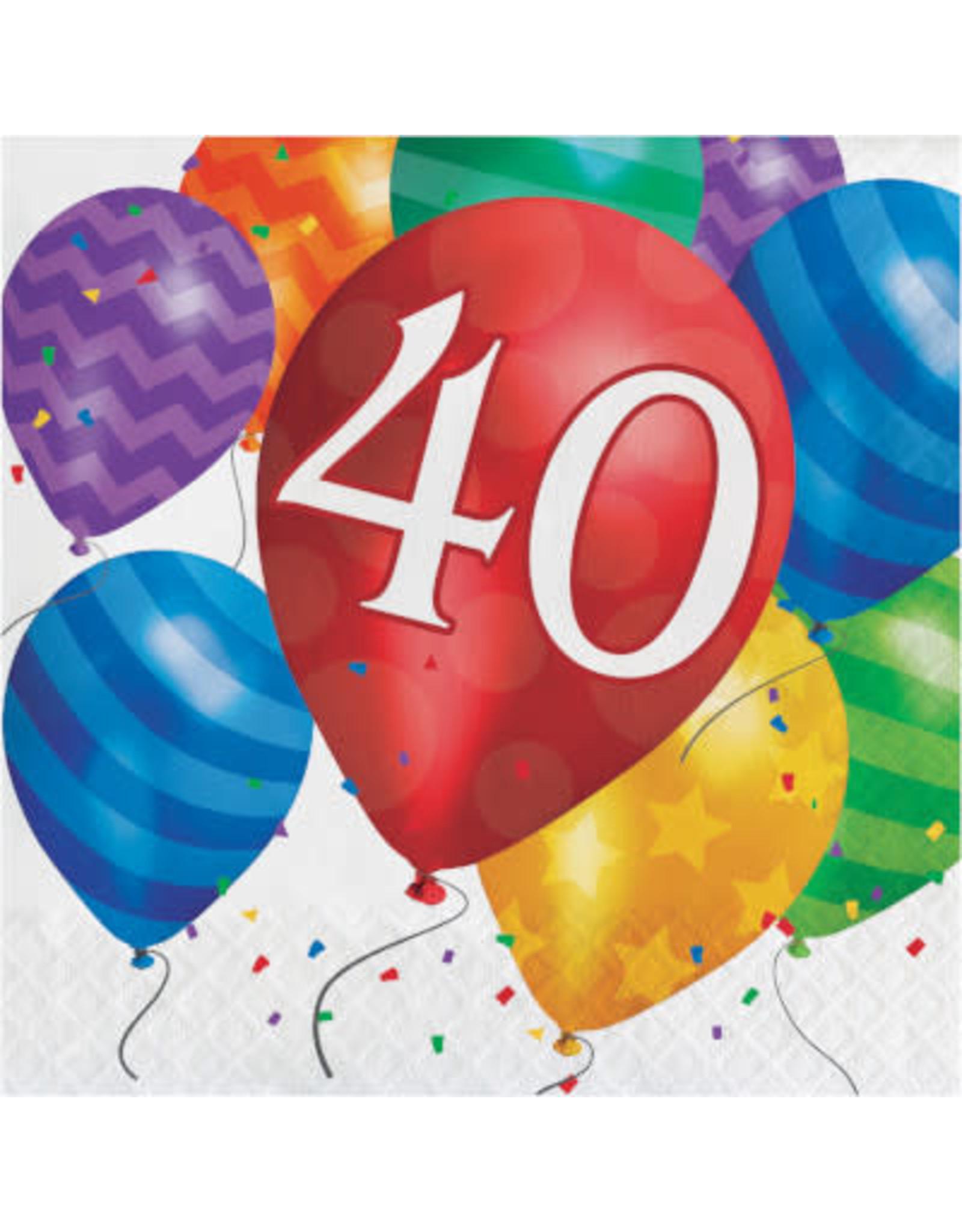 creative converting Balloon Blast 40th Lunch Napkins - 16ct.