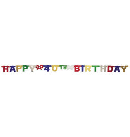 creative converting 40th Jointed Birthday Banner - 6.5ft.