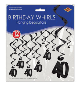 Beistle Black 40th Birthday Whirls - 12ct.