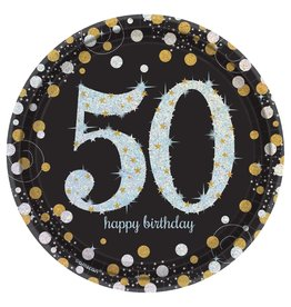 "Amscan Sparkling Celebration 50th 7"" plates - 8ct."