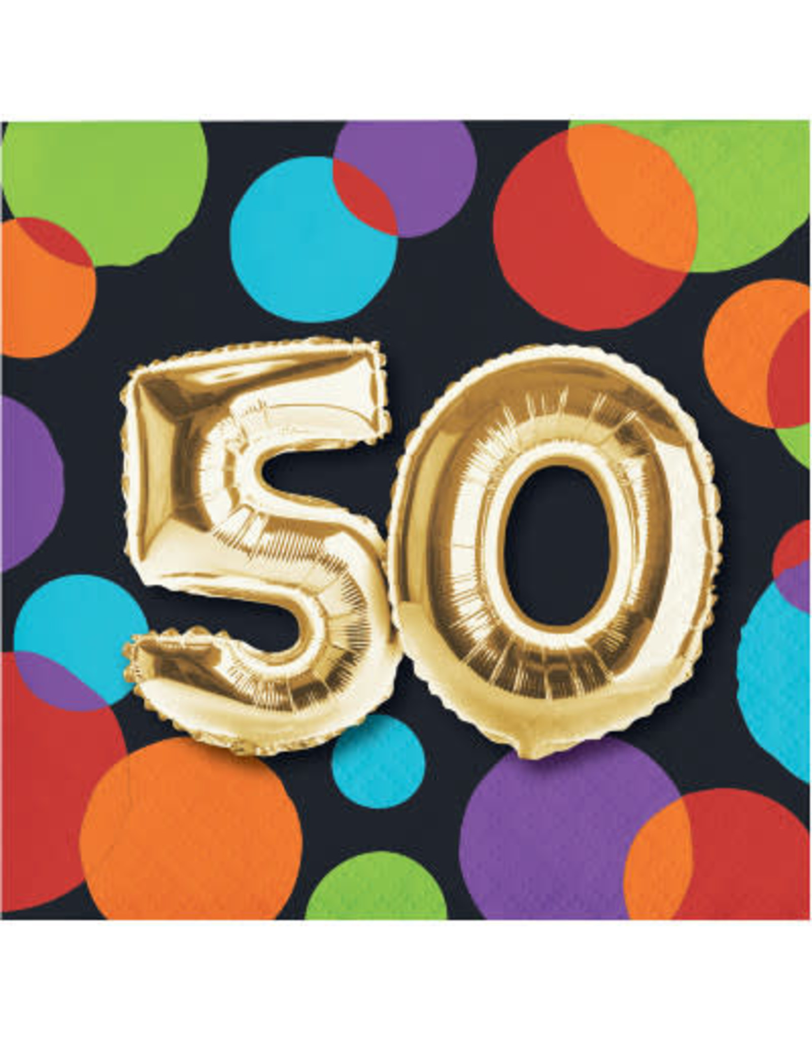Party Creations 50th Balloon Birthday Bev Napkin