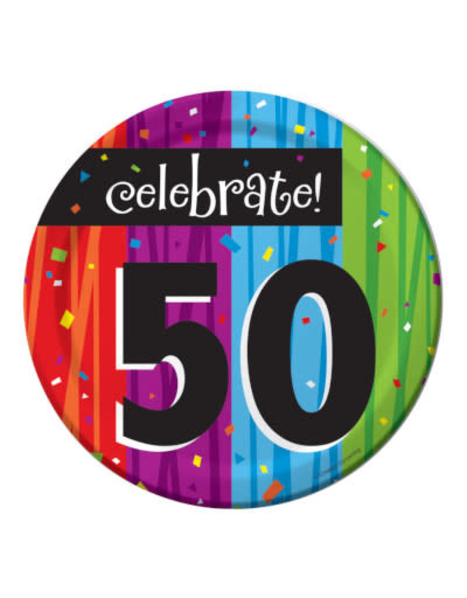 "creative converting Milestone Celebration 50th 7"" plates - 8ct."