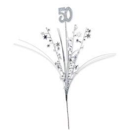 Beistle Silver 50th Glittered Spray - 1ct.