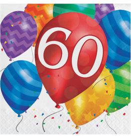 creative converting Balloon Blast 60th Lun. Napkins - 16ct.