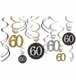 Amscan Sparkling Celebration 60th Swirls - 12ct.