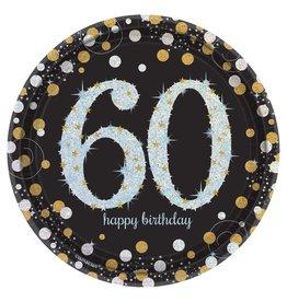 "Amscan Sparkling Celebration 60th 7"" Plate - 8ct."