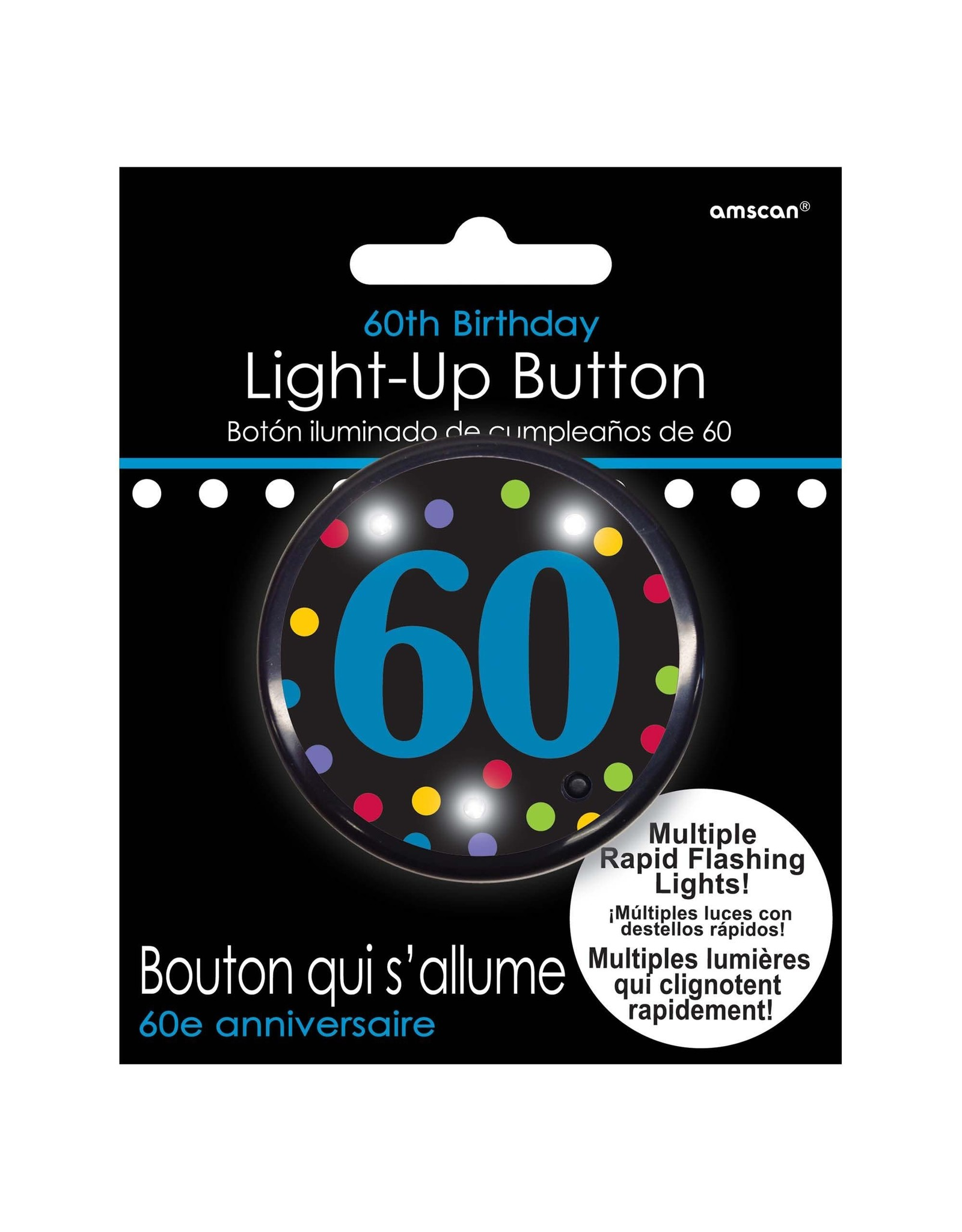 Amscan 60th Flashing Birthday Button