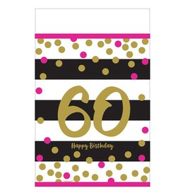 Amscan Pink and Gold 60th Tablecover
