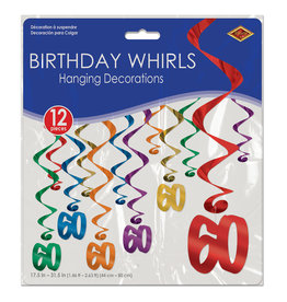 Beistle 60th Birthday Whirls - 12ct.