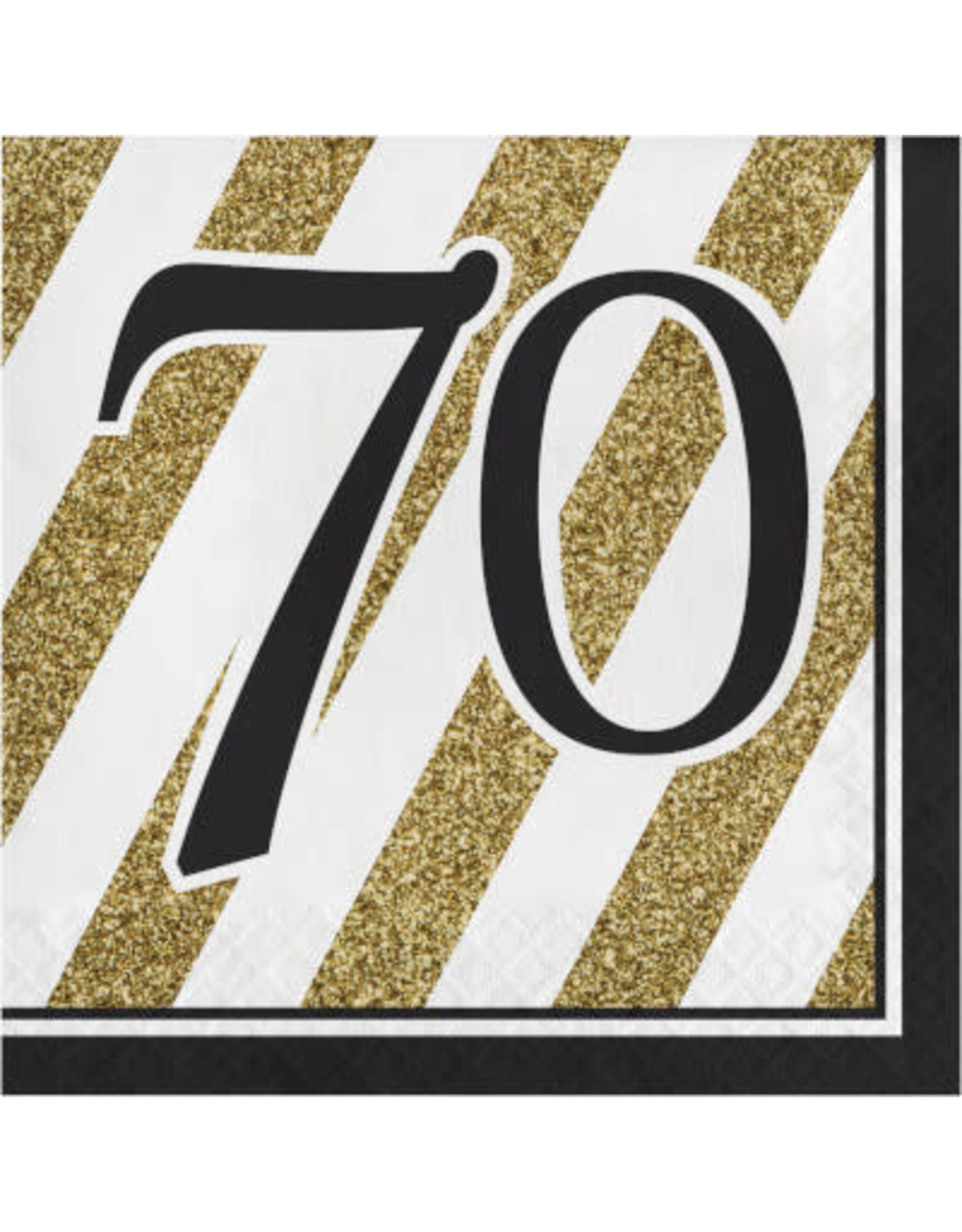 creative converting Black & Gold 70th Lunch Napkins - 16ct.