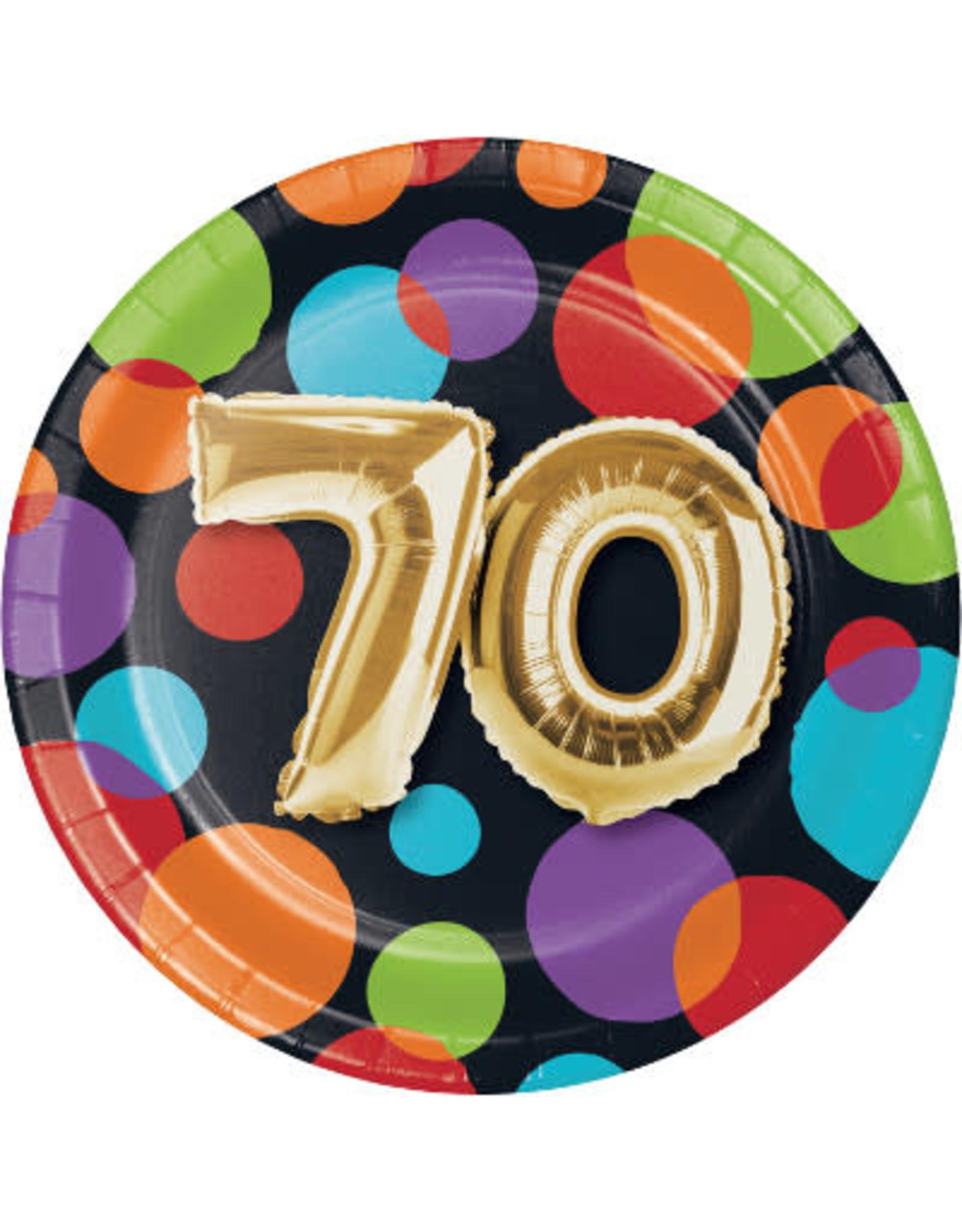 creative converting 70th Balloon Birthday 7in. Plate
