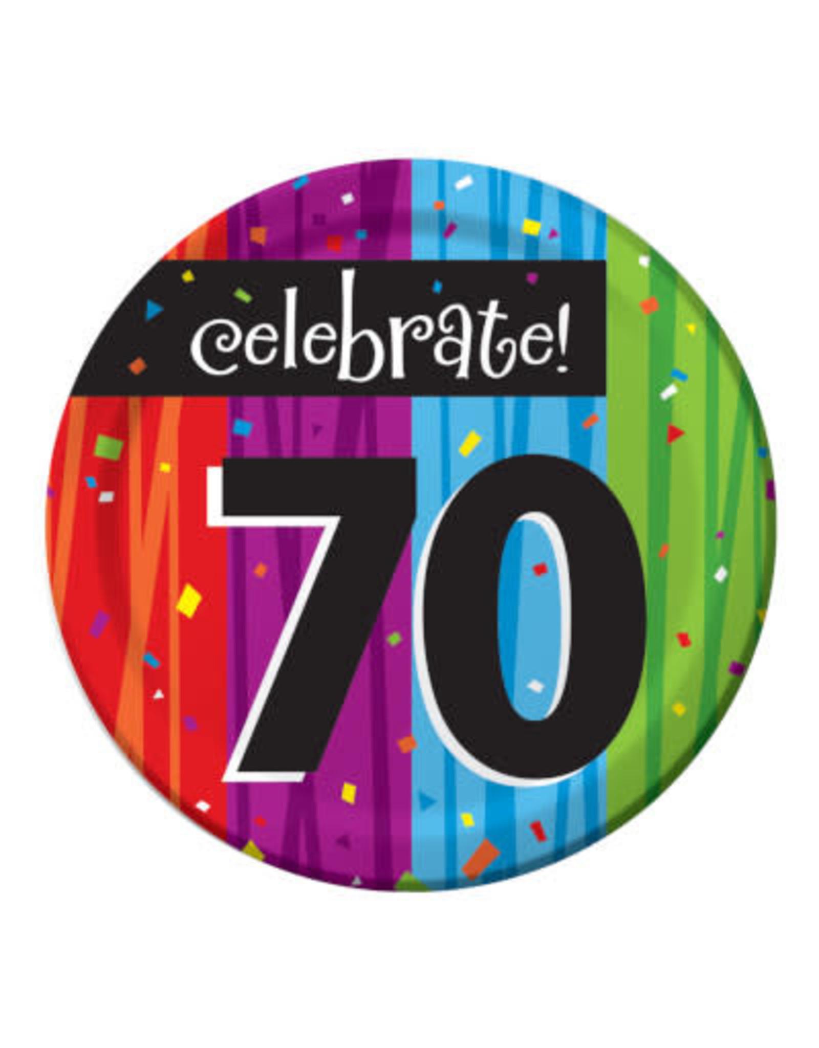 "creative converting Milestone Celebrations 70th 7"" Plates - 8ct."