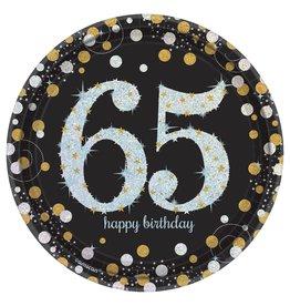 "Amscan Sparkling Celebration 65th 7"" Plates - 8ct."