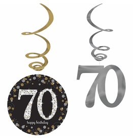 Amscan Sparkling Celebration 70th Birthday Swirls - 12ct.