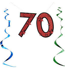 Beistle 70th Birthday Glittered Streamer - 7ft.