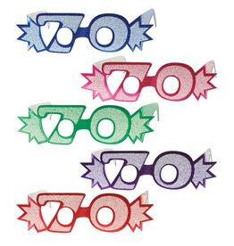 Beistle 70th Glittered Foil Eyeglasses - 1ct.