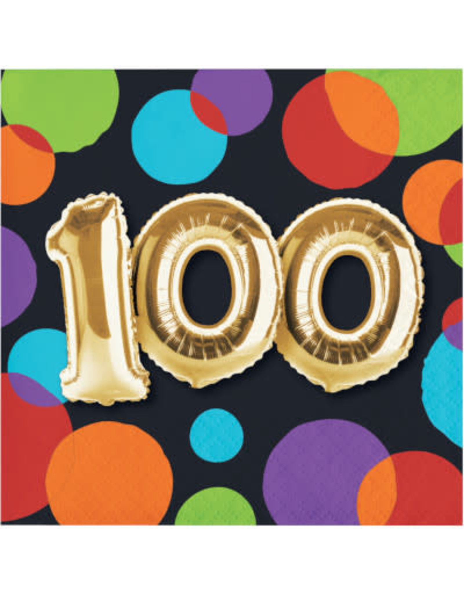 creative converting 100th Balloon Birthday Bev. Napkin - 16ct.