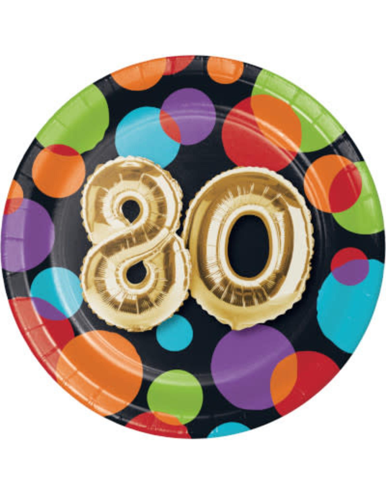 creative converting 80th Balloon Birthday 7in. Plates - 8ct.