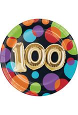 "creative converting 100th Balloon Birthday 7"" Plate - 8ct."