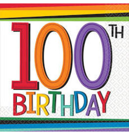 Amscan Rainbow 100th Birthday Bev. Napkins - 16ct.